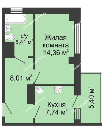 1 комнатная квартира 37,14 м² в ЖК Мега, дом № 2