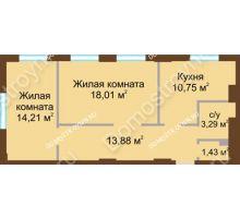 2 комнатная квартира 61,57 м² в ЖК Солнечный, дом № 4