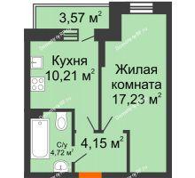 1 комнатная квартира 37,38 м² в ЖК Россинский парк, дом Литер 1 - планировка