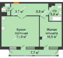 1 комнатная квартира 71,31 м² в ЖК Георгиевский, дом 6 - планировка
