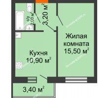 1 комнатная квартира 33,6 м², ЖК Ленина, 187 - планировка
