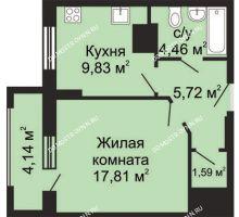 1 комнатная квартира 41,48 м² - ЖК Гелиос