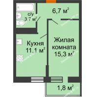 1 комнатная квартира 38,6 м² в Фруктовый квартал Абрикосово, дом Литер 3 - планировка