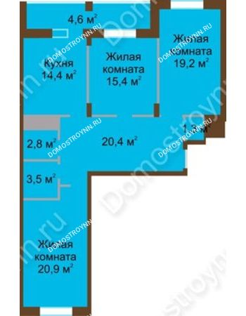 3 комнатная квартира 102,5 м² в ЖК Монолит, дом № 89, корп. 1, 2