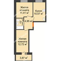 2 комнатная квартира 45,26 м² в ЖК АВИА, дом № 2 - планировка