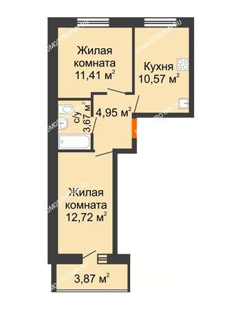 2 комнатная квартира 45,26 м² в ЖК АВИА, дом № 2