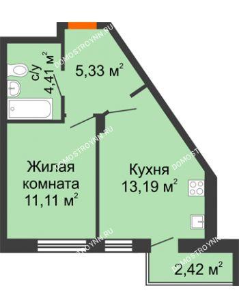 1 комнатная квартира 36,46 м² - ЖК Пушкин