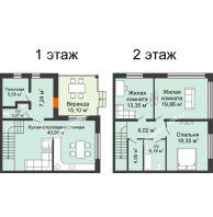 """3 комнатный таунхаус 140 м² в КП Ясная поляна, дом """"Ванкувер"""" 140 м² - планировка"""