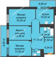 3 комнатная квартира 81,54 м² в ЖК Циолковский, дом № 6 - планировка