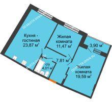 2 комнатная квартира 70,02 м² в ЖК Ватсон, дом № 3 - планировка
