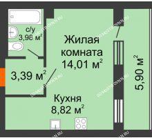 1 комнатная квартира 33,18 м², ЖК Дом у озера - планировка