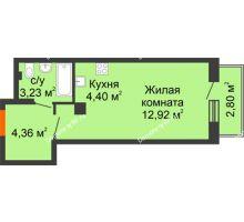 Студия 27,71 м² в ЖК Рассвет, дом №8 - планировка