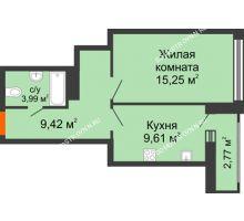 1 комнатная квартира 42,38 м², ЖК Каскад на Менделеева - планировка