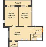 2 комнатная квартира 64,9 м² в ЖК Куйбышев, дом № 7 - планировка