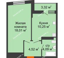 1 комнатная квартира 38,53 м², ЖК Сограт - планировка