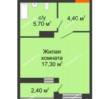 Студия 28,6 м² в ЖК Самолет, дом Литер 2 - планировка