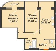 2 комнатная квартира 68,6 м², ЖК Адмирал - планировка