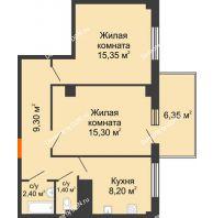 2 комнатная квартира 53,75 м² в ЖК Грин Парк, дом Литер 2 - планировка