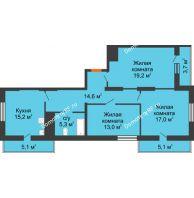 3 комнатная квартира 98,2 м², ЖК Космолет - планировка