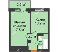 1 комнатная квартира 37,2 м², ЖД Подзолкова - планировка