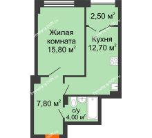 1 комнатная квартира 43,2 м², ЖК Гагарин - планировка