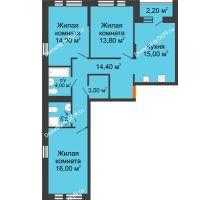 3 комнатная квартира 84,7 м² в ЖК НОРД, дом № 13 - планировка