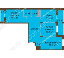 3 комнатная квартира 99,8 м² в ЖК Монолит, дом № 89, корп. 1, 2 - планировка