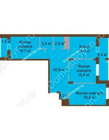 3 комнатная квартира 99,8 м² в ЖК Монолит, дом № 89, корп. 1, 2