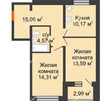 2 комнатная квартира 59,21 м², ЖК Вавиловский Дворик - планировка