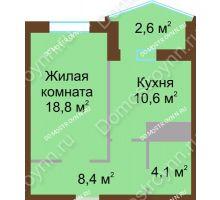 1 комнатная квартира 44,5 м² в ЖК Монолит, дом № 89, корп. 1, 2 - планировка