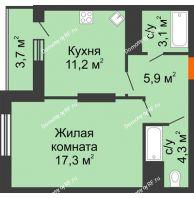 1 комнатная квартира 45,5 м², ЖК Космолет - планировка