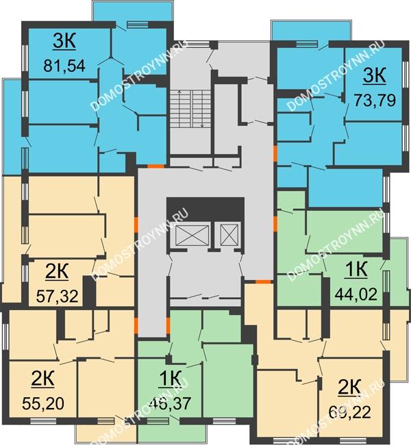 Планировка 2 этажа в доме № 3 в ЖК Циолковский