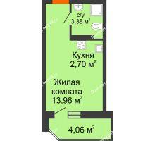Студия 21,26 м² в ЖК Свобода, дом №2 - планировка