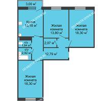 3 комнатная квартира 84,1 м² в ЖК Бурнаковский, дом № 46 - планировка