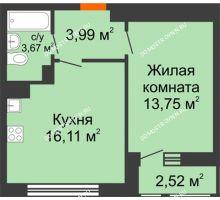 1 комнатная квартира 40,04 м² в ЖК Книги, дом № 1 - планировка