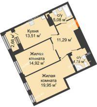 2 комнатная квартира 70,86 м², Дом премиум-класса Коллекция - планировка