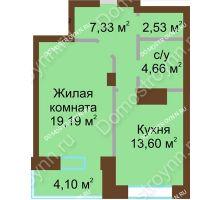 1 комнатная квартира 51,41 м² - ЖК Подкова Приокская