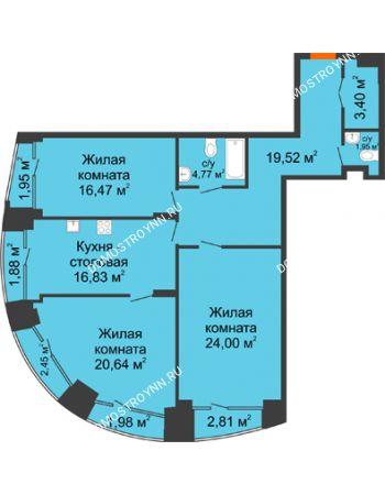 3 комнатная квартира 113,14 м² - Клубный дом на Ярославской