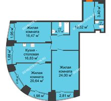 3 комнатная квартира 113,14 м², Клубный дом на Ярославской - планировка