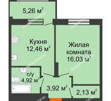 1 комнатная квартира 41,04 м² в ЖК Маленькая страна, дом № 4 - планировка