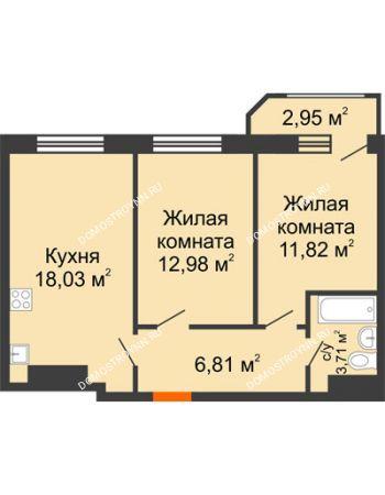 2 комнатная квартира 56,3 м² в ЖК Город времени, дом № 18