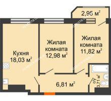 2 комнатная квартира 56,3 м² в ЖК Город времени, дом № 18 - планировка