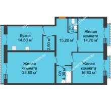 3 комнатная квартира 95,8 м², Жилой дом: г. Дзержинск, ул. Кирова, д.12 - планировка