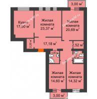 4 комнатная квартира 122,86 м² в ЖК Новоостровский, дом №1 корпус 1 - планировка