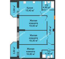 3 комнатная квартира 98,7 м², Жилой Дом пр. Чехова - планировка