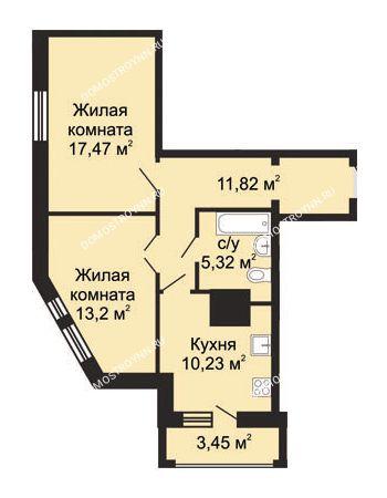 2 комнатная квартира 59,77 м² в ЖК Солнечный, дом № 5 - Гелиос