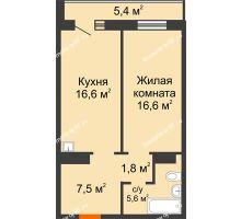 2 комнатная квартира 50,8 м² в ЖК Лесной массив, дом Строение 9 - планировка