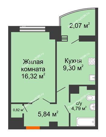 1 комнатная квартира 40,92 м² в ЖК Университетский 137, дом Секция С1