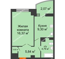 1 комнатная квартира 40,92 м² в ЖК Университетский 137, дом Секция С1 - планировка