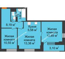 3 комнатная квартира 58,28 м², ЖК Каскад на Путейской - планировка